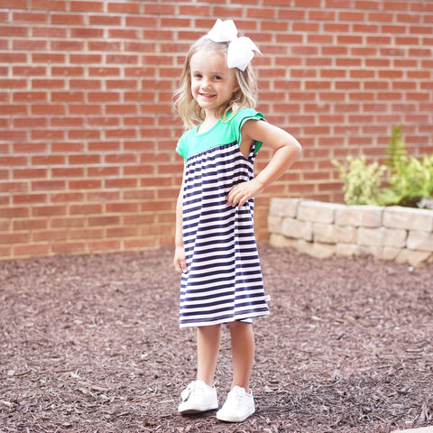 Navy Stripe Green Yoke Dress
