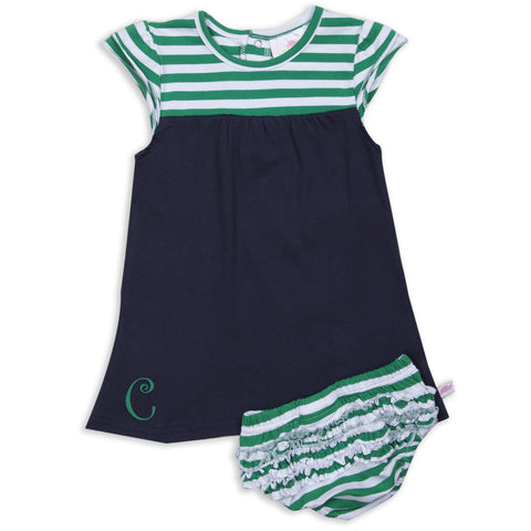 Navy Green Stripe Yoke Dress