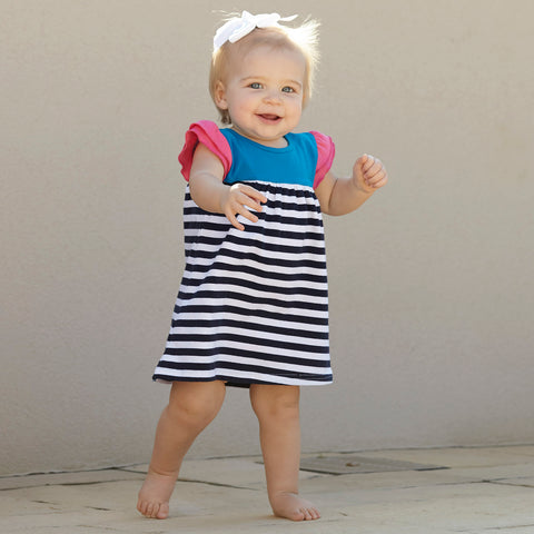 Navy Stripe Hot Pink Dress with Bloomers
