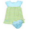 Lime Stripe Aqua Yoke Dress