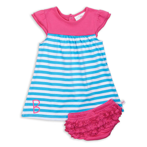 Turquoise Stripe Hot Pink Yoke Dress