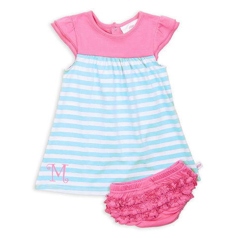 Aqua Stripe Candy Pink Yoke Dress