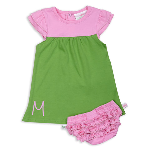 Apple Green Candy Pink Yoke Dress