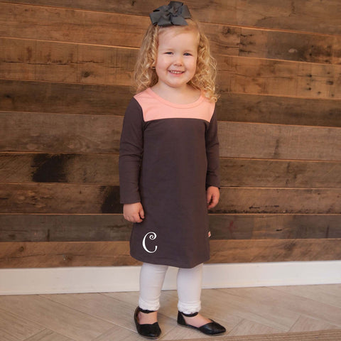 Peach Charcoal Yoke Dress