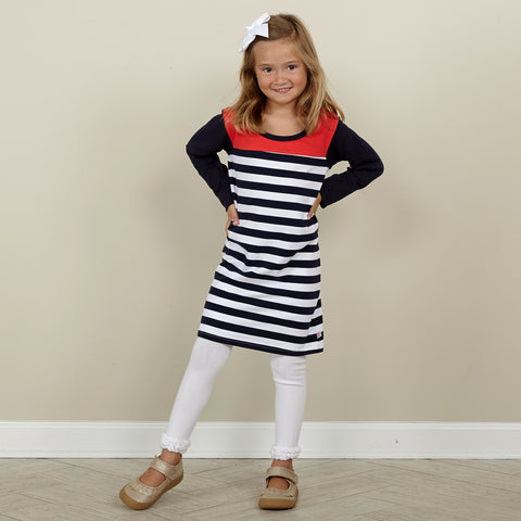 Navy Stripe Red Coral Yoke Dress