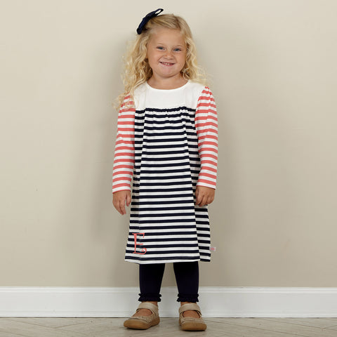 Navy Coral Stripe Dress