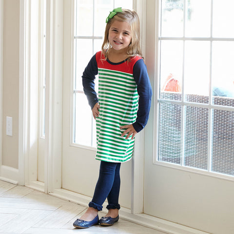 Green Stripe Navy Red Yoke Dress
