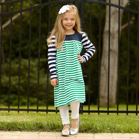 Green Navy Stripe Dress