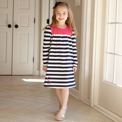 Navy Stripe Fuschia Yoke Dress