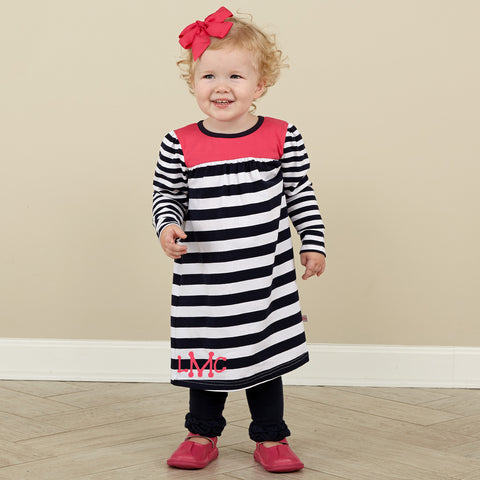 Navy Fuschia Stripe Yoke Dress