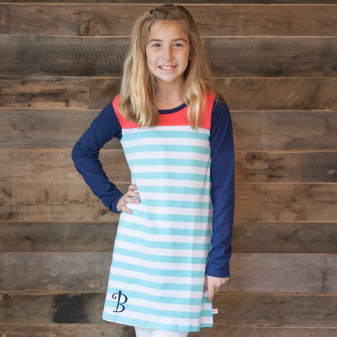Aqua Stripe Yoke Dress