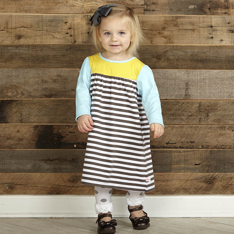 Gray Stripe Yellow Aqua Dress