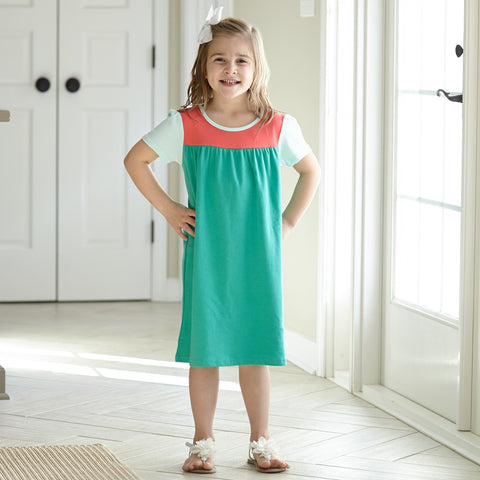 Jade Coral Yoke Dress