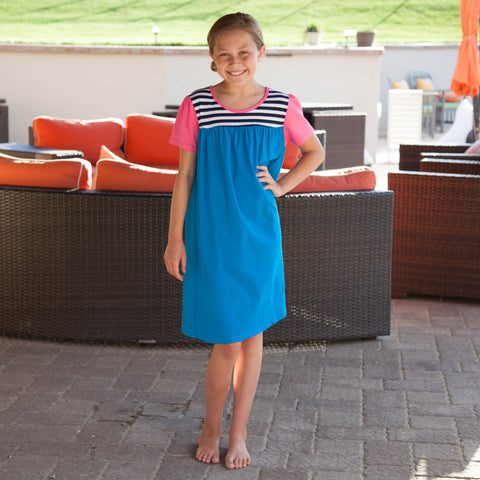 Caribbean Blue Navy Stripe Yoke Dress