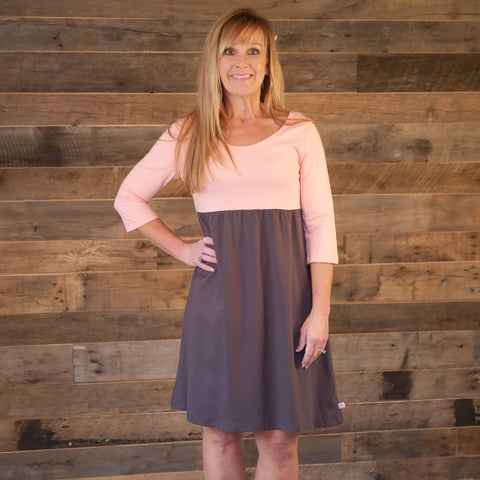 Peach Gray Empire Dress