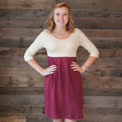 Cream Burgundy Empire Dress