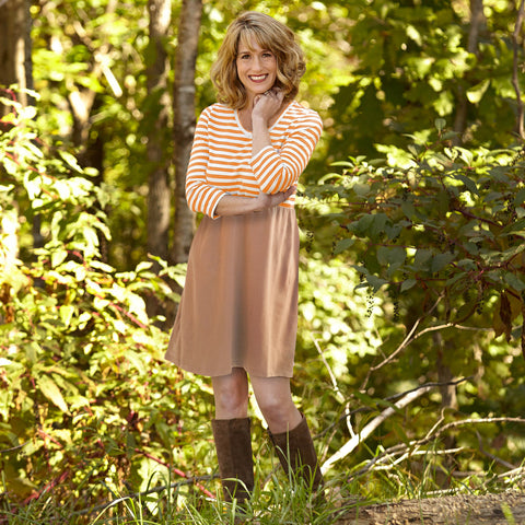 Orange Taupe Empire Dress