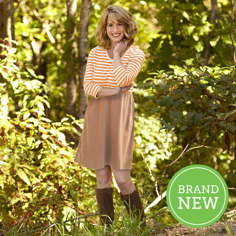 Orange Stripe Taupe Dress