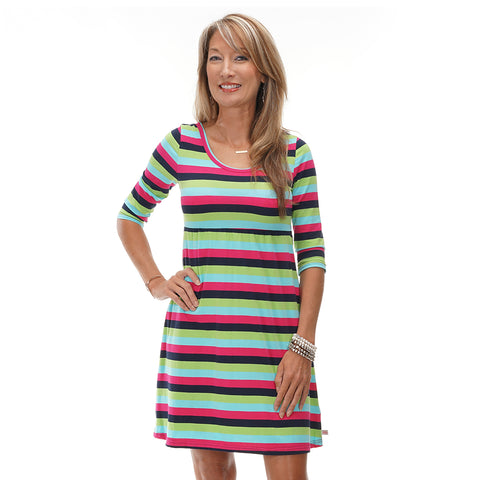 Navy Pink Stripe Empire Dress