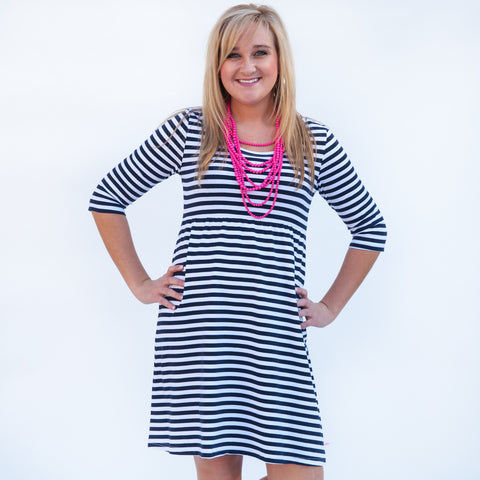 Navy Stripe Empire Dress