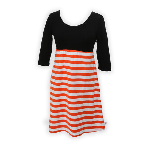 Black Orange Stripe Empire Dress