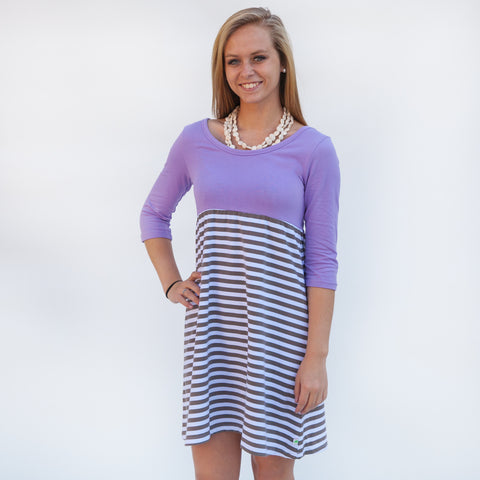 Lavender Gray Stripe Empire Dress