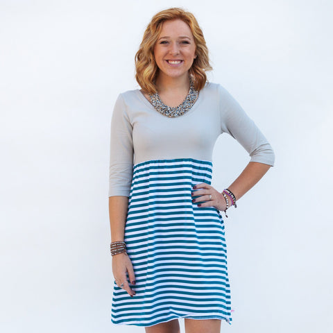 Silver Teal Stripe Dress