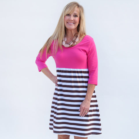 Pink Brown Empire Dress
