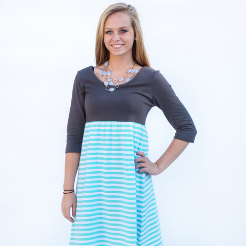 Charcoal Tiffany Stripe Dress