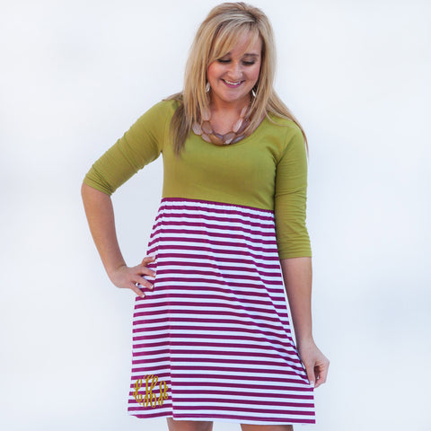 Olive Burgundy Stripe Empire Dress