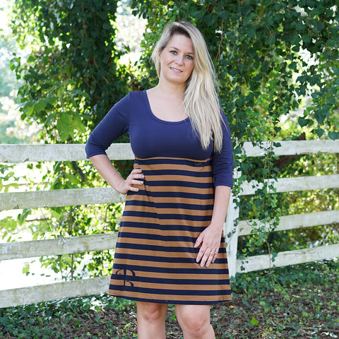 Navy Brown Stripe Empire Dress
