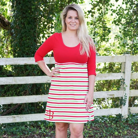 Christmas Stripe Empire Dress