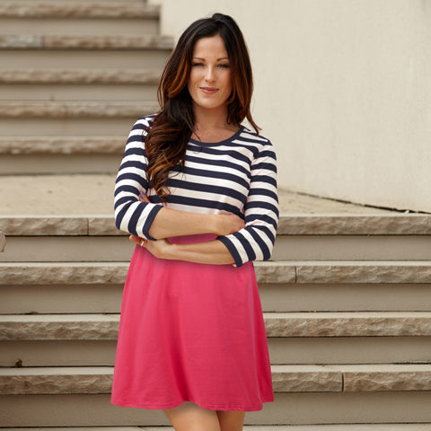 Navy Stripe Fuschia Dress