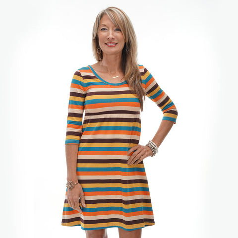 Fall Turquoise Stripe Empire Dress