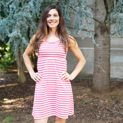 Coral Stripe Tank Dress