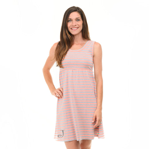 Peach Gray Stripe Tank Dress