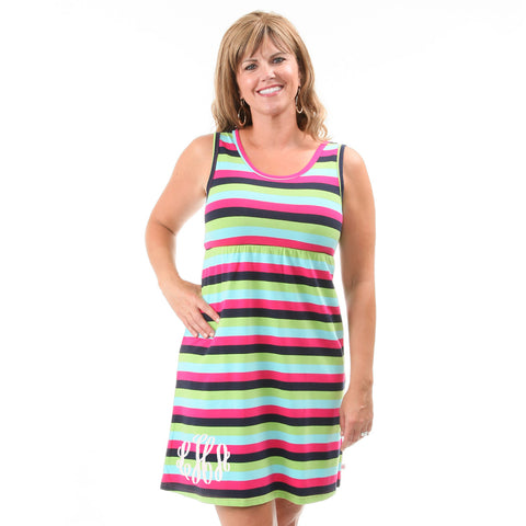 Navy Pink Stripe Tank Dress