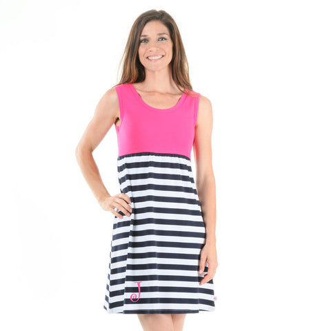 Fushia Navy Stripe Tank Dress