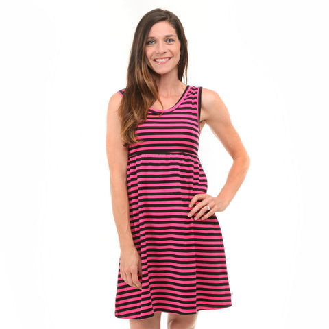 Hot Pink Black Stripe Tank Dress