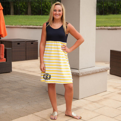 Navy Yellow Stripe Tank Dress