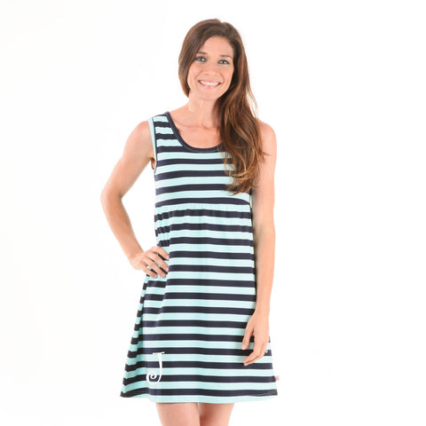 Navy Aqua Stripe Tank Dress