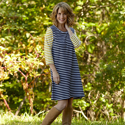 Navy Mustard Stripe Dress