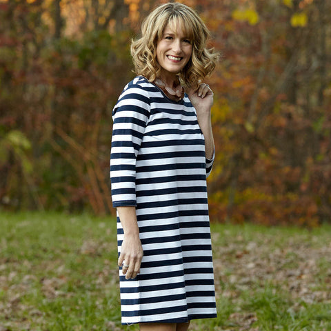 Navy Stripe Shift Dress
