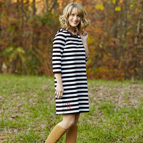 Black Stripe Shift Dress