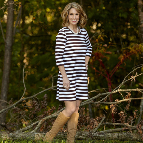 Brown Stripe Dress