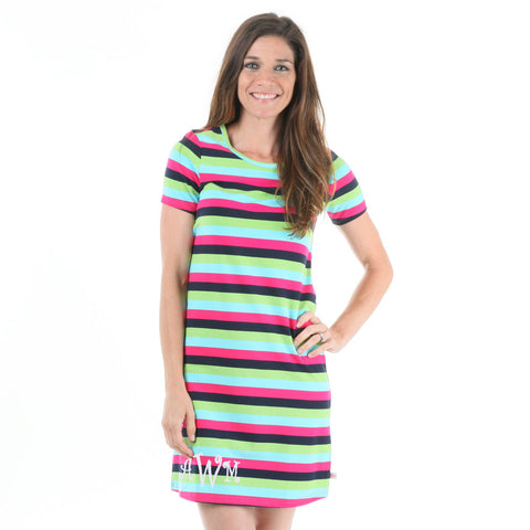 Navy Pink Stripe Dress