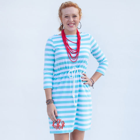 Aqua Stripe Tie Dress