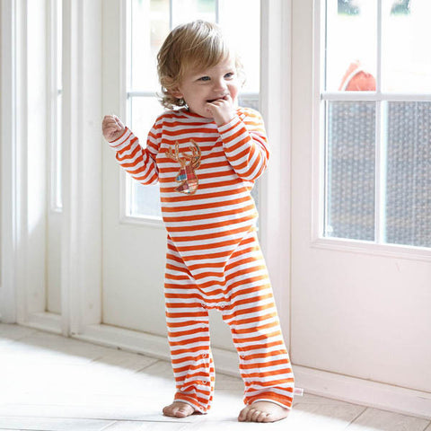 Baby Boys Orange Stripe Romper