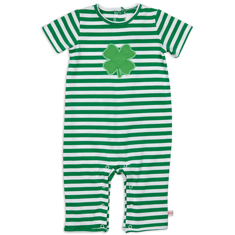 Baby Boys Green Stripe Romper