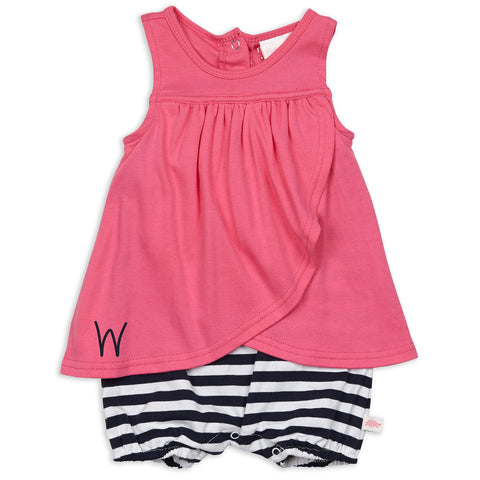 Hot Pink Navy Stripe Bubble
